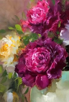 """'Cascade Peonies' by Nancy Medina Acrylic Flowers, Oil Painting Flowers, Flower Oil, Rose Art, Arte Floral, Beautiful Paintings, Art Oil, Painting Inspiration, Beautiful Flowers"