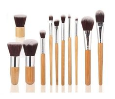 11 PC Makeup Cosmetic Brush Professional Bamboo Synthetic Kabuki Contour Blending Kit
