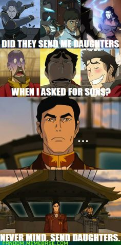 I like it, but you know what, swap Asami for Tenzin because she's annoying. And swap Korra for Aang-my avatar of choice. Oh, and throw Zuko in there while you're at it. Avatar The Last Airbender Funny, Avatar Funny, Avatar Airbender, Korra Avatar, Team Avatar, Zuko, Fandoms, Legend Of Aang, Avatar Series