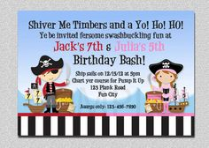 Pirate Birthday Invitation Twins Pirate by TheTrendyButterfly, $15.00