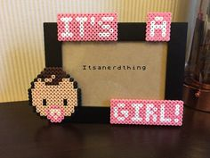 It's a Girl New baby photo or picture frame Made by Itsanerdthing
