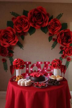 Getting smart with romantic dinner decoration ideas 7 ideas ideas event ideas party ideas wall ideas wedding styles decoration ideas decoration ideas Red Party Decorations, Decoration Evenementielle, Quinceanera Decorations, Valentines Day Decorations, Valentines Diy, Birthday Decorations, Valentinstag Party, Paper Flower Backdrop, Paper Flowers Diy