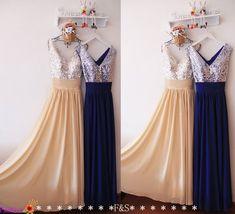 Royal Blue Evening Dress,Champagne Evening Prom Dress,Modest