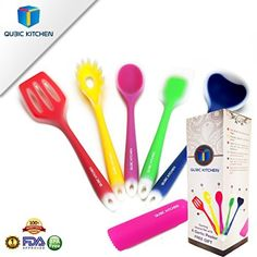 Lotus Kitchenware Solid Silicone Spatula Set w BONUS Pastry Brush ** Want additional info? Click on the image.