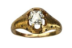 1860-70s Victorian 1.05ct Mine Cut Diamond Ring 22K Gold