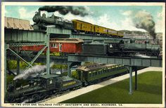 Description: This unique photograph presents to view the only point in the world where three trunk line trains cross each other at the same time, and over their separate tracks. At the top is shown a passenger train of the C. & O. Railway leaving Richmond for the upper James River Valley just beneath it a train of the S.A.L. Railway leaving the Main Street (Union) Deport for the South, and on the ground a train of the Southern Railway coming into Richmond from West Point on the York River…