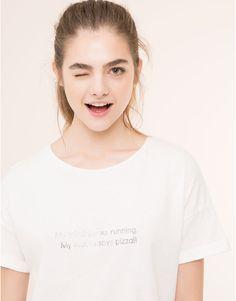 Pull&Bear - dames - nieuwigheden - wit t-shirt met tekstprint - wit - 09243365-I2015