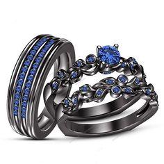 1-3/5 CT Round Blue Sapphire 14K Black Gold FN His & Her Trio Wedding Ring…