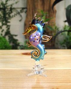 Handmade Sea Horse Art Glass Blown Sea Animal Figurine