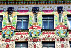 Majolika Haus, Vienna, Linke Wienzeile 40. The House was built by Otto Wagner in 1898, the floral tile ornament on the facade was made by his pupil Alois Ludwig. The Majolikahaus is one of 3 Art Deco Buildings in this Street all built between 1898 and 1899