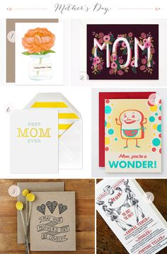 The Best Mother's Day Cards, Part 3. Clockwise from top: Dear Hancock, Rifle Paper Co., Hello! Lucky, afavorite design, Bubby and Bean Art, Sugar Paper