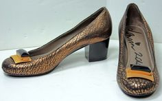 Women's Authentic Lanvin Metallic Bronze Crackle Leather Jewel Buckle Pumps 6.5 #Lanvin #PumpsClassics