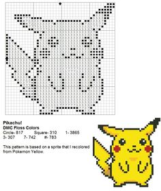 Pikachu cross-stitch