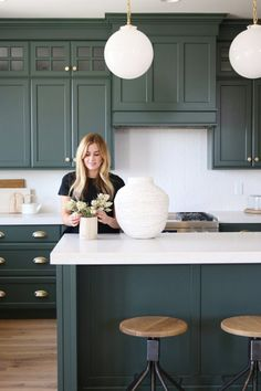Great Home Decor Trends 2019 White Kitchen Design Plan With An Earthy Coastal Vibe-Studio McGee … Green Kitchen Cabinets, Farmhouse Kitchen Cabinets, Kitchen Cabinet Design, Interior Design Kitchen, Kitchen Decor, White Cabinets, Kitchen Ideas, Green Kitchen Island, Kitchen Paint