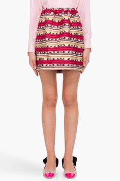 CARVEN Striped Jacquard Skirt