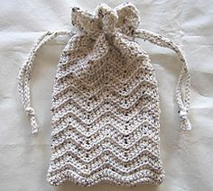 beginner's crochet purse drawstring ripple bag.