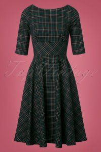 Peebles Tartan Swing Dress in Green Vintage Inspired Dresses, Vintage Dresses, Vintage Outfits, Vintage Fashion, Swing Dress 50s, Swing Skirt, Blouse Dress, Dress Skirt, Make Your Own Clothes