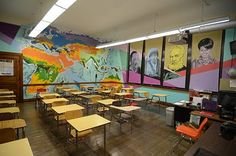 Social Studies Classroom Murals. I'd love to have thus classroom.