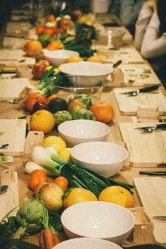 Decorate your table with veggies which are beautiful and last longer than flowers.  Then you can donate them to a food pantry in your area via AmpleHarvest.org