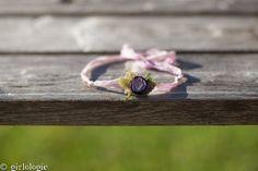 Lavender Sari Silk Ribbon & Purple Rosette Tieback by girlologie