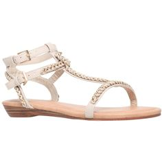 Miss KG Roz Chain Link Flat Sandals, Nude ($49) ❤ liked on Polyvore featuring shoes, sandals, low shoes, nude flat shoes, synthetic shoes, double buckle sandals and nude footwear