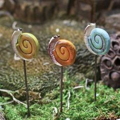 Set of 3 Miniature Whimisical Snail Picks #fairygarden