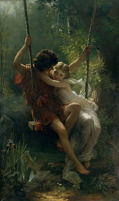 """""""Springtime"""" Oil on canvas by Pierre-Auguste Cot 1873. He was a student of William Adolphe Bouguereau!"""
