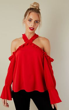 e1e30481d7dc6 Red Cold Shoulder Frill Detail Top - SilkFred