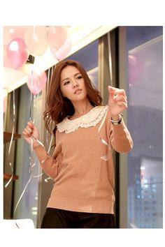 Pink Lace Collar Sweater, iAnyWear