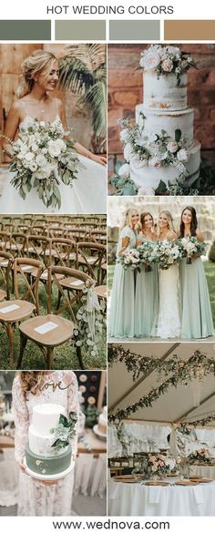 spring wedding colors 10 Sage Green Wedding Color Palettes for 2020 Trends Gold Wedding Colors, Winter Wedding Colors, Wedding Color Schemes, Neutral Color Wedding, Spring Wedding Themes, Wedding Color Palettes, Spring Wedding Decorations, Sage Green Wedding, Green Wedding Cakes