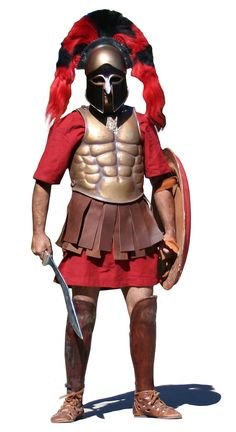 Spartan Hoplite,note:the sword..  It's the ancestor of kukri  travelled to asia through the soldiers of Alexander the great..  Kukri knife is 100% Hellenic not Nepalese.