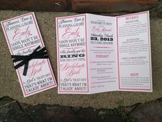 Bachelorette Party Invite  Trifolded Itinerary by MariahDesignShop, $1.50