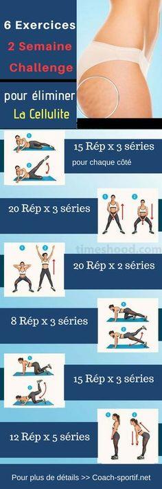Exercices anti cellulite : voici un routine de 6 exercices pour éliminer et enlever la cellulite au cuisses et sur les fesses #cellulite #cuisses #fesses #jambe #exercice