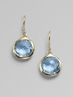 Blue Topaz & 18K Yellow Gold Earrings!!