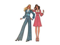 1970s Top Skirt and Pants Pattern Wide by PrettyPatternShop