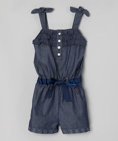Another great find on #zulily! Denim Button Tie-Shoulder Romper - Toddler & Girls by Speechless #zulilyfinds