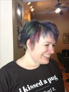 Profile-brown base purple, blue, turquoise highlights