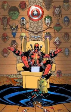 Deadpool kills Marvel characters right along with the comic universe. No Batman, Superman or JLA: Why does everyone like Deadpool? He's a fucking jerk Anime Comics, Bd Comics, Archie Comics, Marvel Dc Comics, Marvel Heroes, Marvel Avengers, Deadpool Comics, Comic Book Characters, Marvel Characters