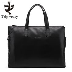 78.71$  Watch here - http://alixjc.worldwells.pw/go.php?t=32720717899 - Trip-easy Men Genuine Leather Bag Handbag Business Single Shoulder Men Designer Bag Computer Leather Bags Men Briefcase Black