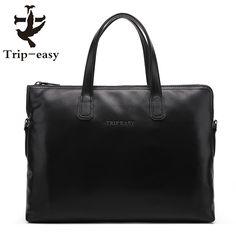 78.71$  Watch here - http://alixjc.worldwells.pw/go.php?t=32720717899 - Trip-easy Men Genuine Leather Bag Handbag Business Single Shoulder Men Designer Bag Computer Leather Bags Men Briefcase Black
