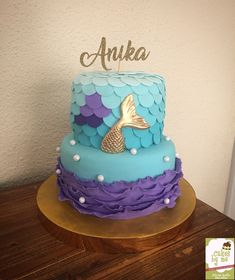 Little Mermaid Cake! By Cakesbyme Little Mermaid Birthday Cake, Little Mermaid Cakes, Little Mermaid Parties, Baby Birthday, Birthday Parties, Birthday Ideas, Sirenita Cake, Bolo Tumblr, Sea Cakes