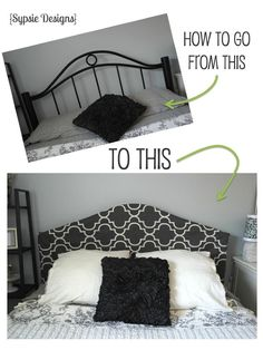 Easy Headboard Cover ~ Hide an out-of-date metal headboard with a simple, slip-on cover.