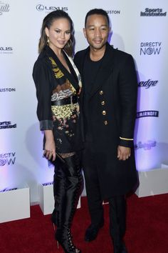 Chrissy Teigen (L) and John Legend attend Sports Illustrated Swimsuit 2017 NYC launch event at Center415 Event Space on February 16, 2017 in New York City.