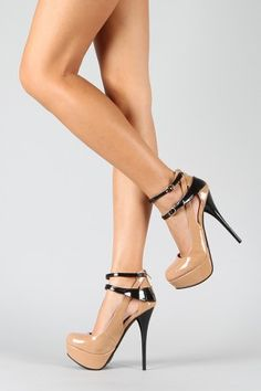 Qupid Neutral-173 Two Tone Mary Jane Stiletto Pump