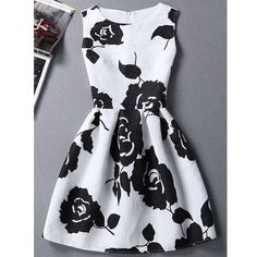 Charming Round Neck Sleeveless Rose Print Slimming Women's Dress (20 AUD) via Polyvore featuring dresses, sleeveless dress, round neck dress, slim fit dress, rose print dress and round neckline dress