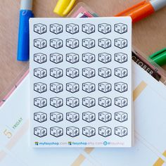 48 Package Boxes / Shipping Boxes Mini Icons -  Black & White Hand Drawn Sticker Planner by FasyShop on Etsy