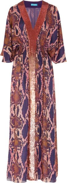 Matthew  Williamson  Python-Print Silk-Chiffon Maxi Dress @Lyst