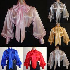 SHINY New LIQUID SATIN Long Sl BOW BLOUSE Top vtg HIGH NECK Shirt S M L 1X 2X 3X