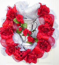 To buy go here www.etsy.com/shop/horsewreaths designer Cheryl B Van Winkle. Horse Wreath Deco Mesh Red Rose Derby Wreath by HorseWreaths
