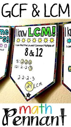 GCF. LCM and Prime Factors Pennant   Math. Sixth grade math. Teaching math